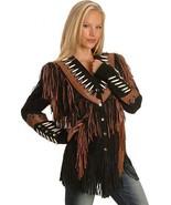 QASTAN WOMEN'S NEW BLACK FRINGED / BONE / BEADS SUEDE LEATHER JACKET WWJ24 - $157.41+