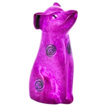 Vaneal Group Hand Carved Kisii Soapstone Fuchsia Puppy Dog Miniature Figurine