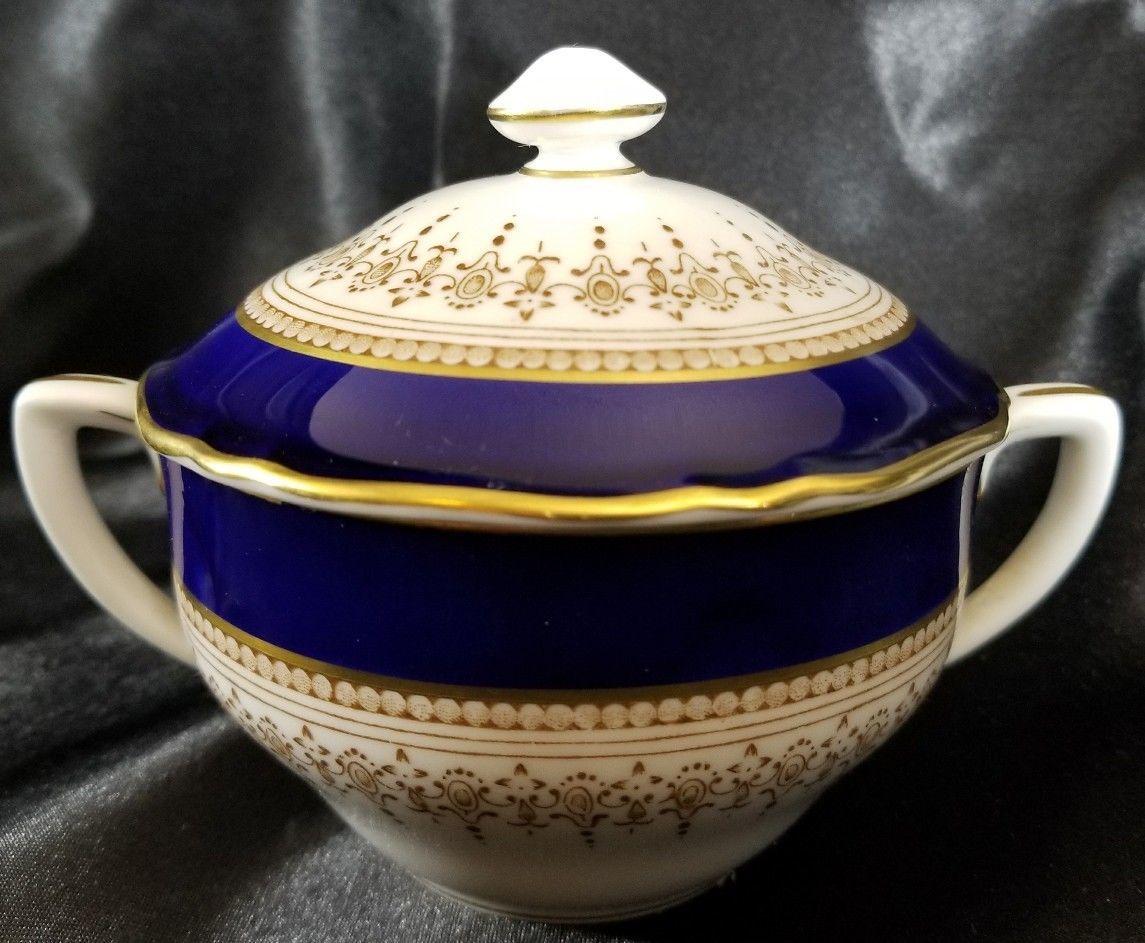 Royal Worcester REGENCY Blue Sugar Bowl with Lid