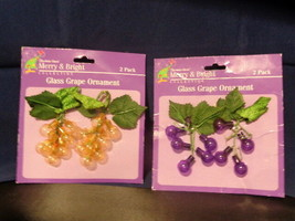Christmas House Merry & Bright Glass Purple Yellow Green Grapes Ornaments - $7.24+