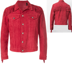 New Cowboy Men's Red Western Suede Cow Leather Fringed Hippy Jacket DJ24 - $165.62+