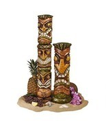Mahalo Tiki Set: Exotic Hawaiian Totem Primitive Tiki Garden Yard Pool S... - £150.02 GBP
