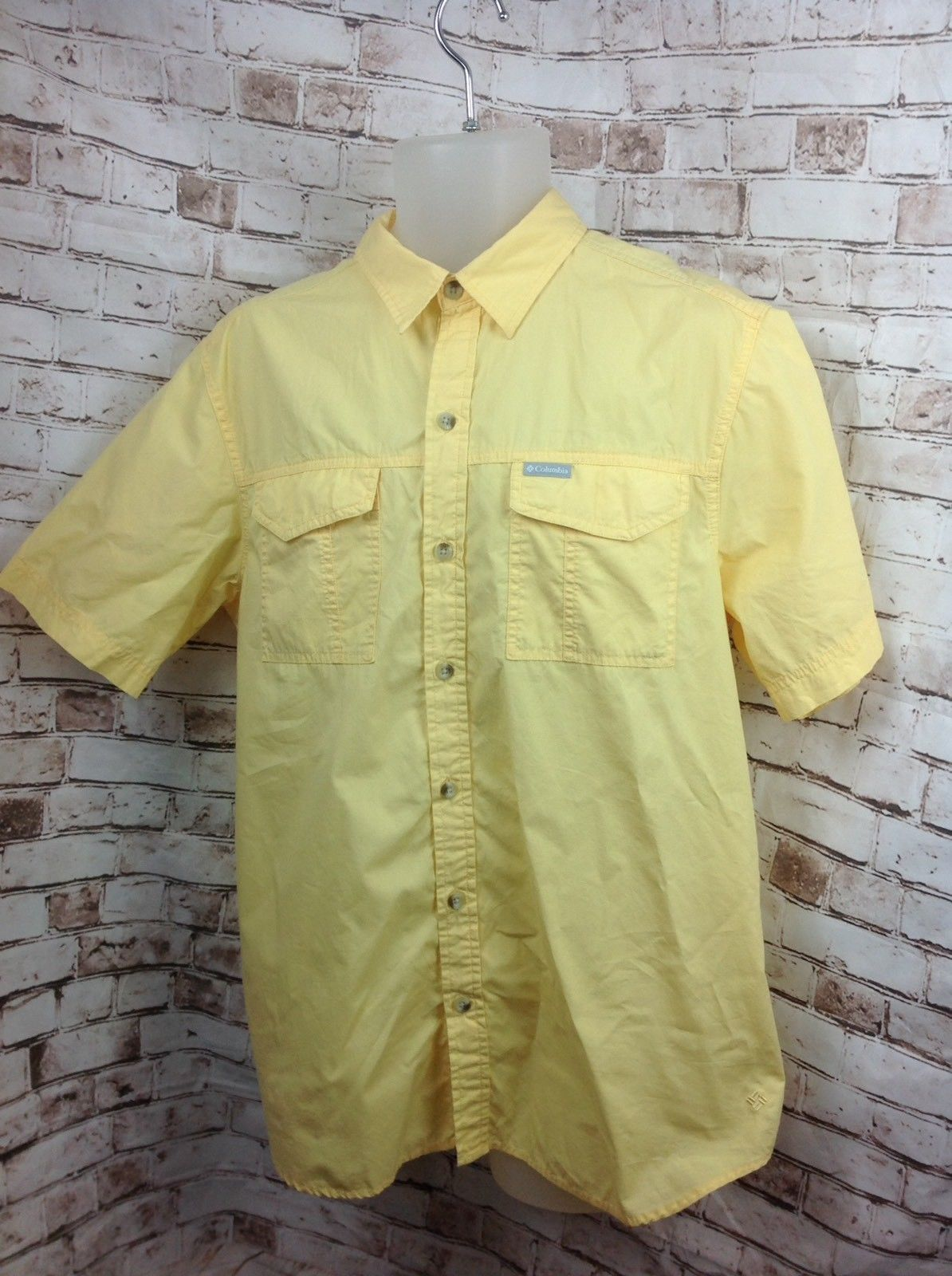 5084eb4101f S l1600. S l1600. Previous. COLUMBIA Mens Sz M Short Sleeve Vented Button  Front Fishing Shirt YELLOW Hiking