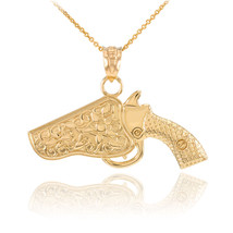 14k Bold Yellow Gold Revolver Pistol Gun in Holster Pendant Necklace - $465.49+
