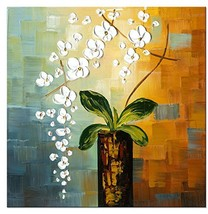 Wieco Art Beauty of Life Floral Oil Paintings on (32x32inchx1pc (80x80cm... - $86.14