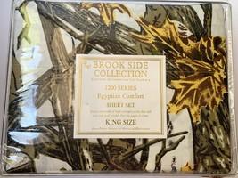 Egyptian Comfort Camo Sheet Set King White Snow Print Camouflage Brook Side - $29.41