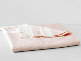 Sferra NIA Throw Blanket Petal Pink Wool Silk Cashmere Blend Fringed Ita... - $254.90
