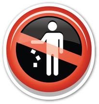 Emoji No Littering sign shaped vinyl sticker 100mm or 150mm warning noti... - $3.00+