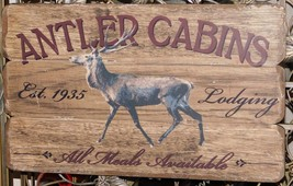 Fetco Home decor Nordic Antler Hanging Wood Sign Wall Decor - $18.99