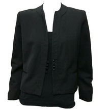 Roth Le Cover Womens Vintage Black Wool Crew Neck Office Jacket Blazer S... - $9.90