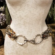 Vintage CHICO'S Artisan Jeweled Metal Beaded Multi Row Etruscan Stretch ... - $59.95