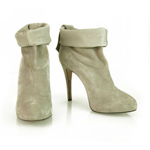 Brian Atwood Gray Suede Leather Pull On Calf Booties Boots Heels Shoes s... - $266.31