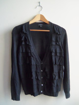 Ann Taylor Black Ruffle Cardigan Sweater Viscose Blend Size MP, Pre-owned - $20.77