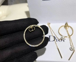 AUTH Christian Dior 2019 CD LOGO LARGE CIRCLE HOOP DANGLE PEARL DROP Earrings image 6