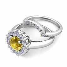 2Carat Yellow Citrine & Sim Diamond 14K White Gold Finish Bridal Halo Ring Set - $99.99