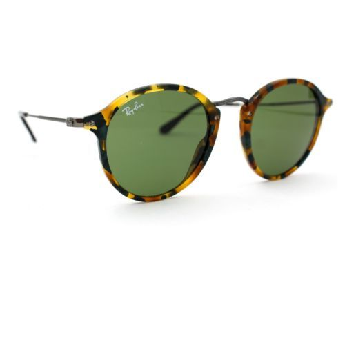 Ray-Ban Sunglasses ROUND FLECK with Green Lenses 2447