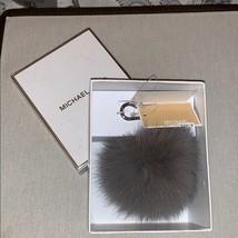 Michael Kors Fox Fur Pom Pom Medium Pearl Gray Key Fob Bag Charm NWT MSR... - $63.59 CAD
