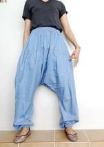 Drop Crotch Harem Pants Unique Style Boho Medium blue Denim Cotton Light... - $52.00