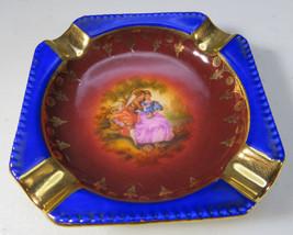 Antique Small Ashtray porcelain J K Karlsbad Bavaria Vienna Romantic scene - $60.00