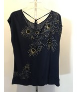 Women's APT 9 Blue Casual Gold Peacock Blouse Top Size L - $9.49