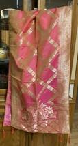 PINK GOLDEN India BANARSI Art Silk Dupatta Wrap Scarf Stole Chunri shawl... - $23.99