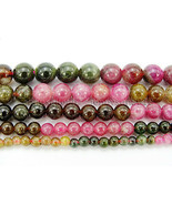 Natural Multi-Colored Tourmaline Gemstone Round Spacer Beads 15'' 4mm 6mm 8mm  - $15.82 - $28.77