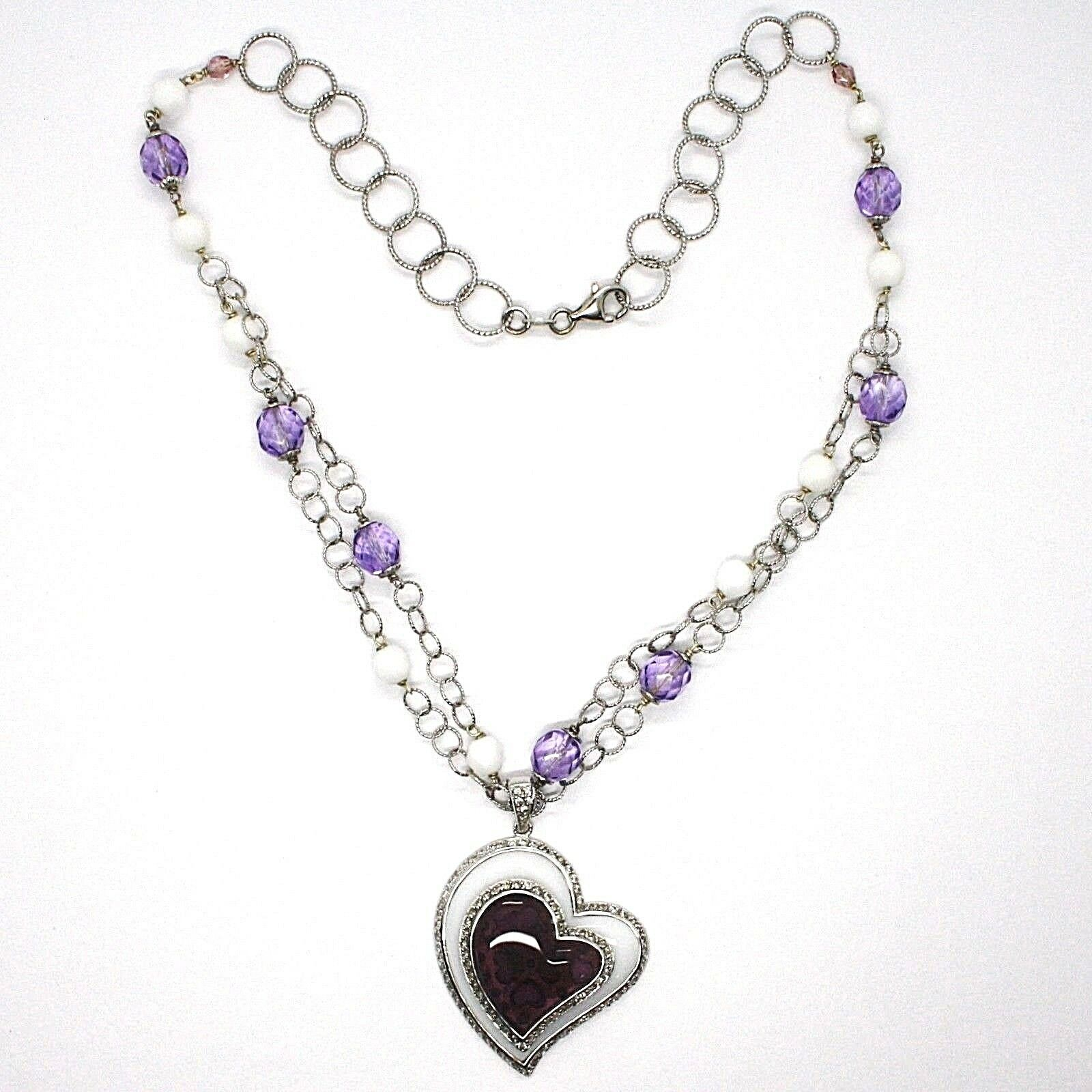 Necklace Silver 925, Amethyst, Agate White, Heart Pendant, Chain Two Row image 2