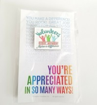 Volunteers Makes A Difference Every Moment Silver Tone Enamel Appreciati... - $11.03