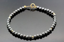 14k Yellow Gold Bracelet W Hematite Pearls 7.8g.  #30119 - $148.49
