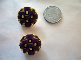 4 SOFT PURPLE & GOLD BASKET WEAVE 1inch FASHION BUTTONS - $10.00