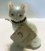 FENTON SITTING CAT NOVEMBER BIRTHDAY TOPAZ COLOR RHINESTONE COLLAR & SIGNED - $24.95