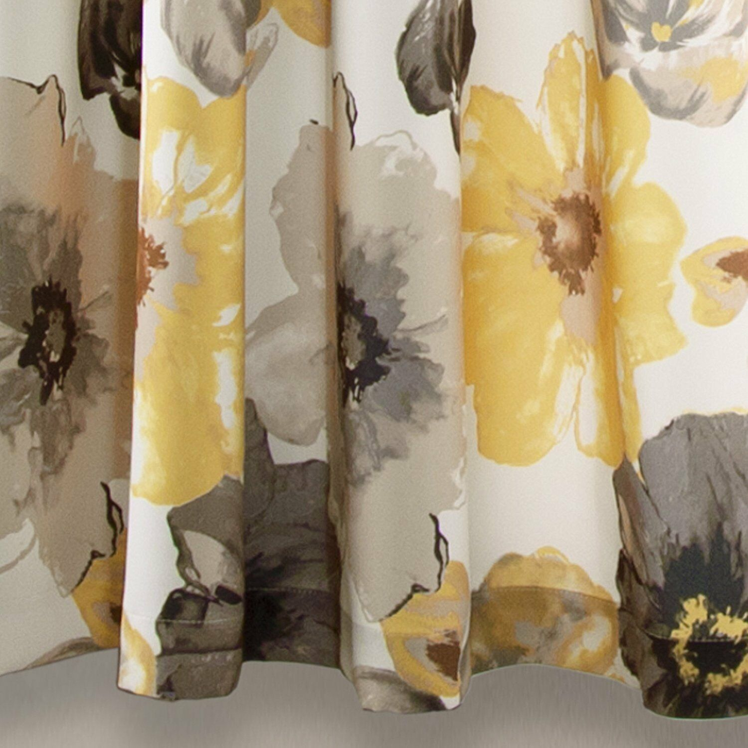 Set 2 Yellow Gray White Floral Curtains Panels Drapes 63