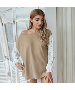Fashion Khaki Floral Stitching Knitted Long Sleeve Ladies Top - $39.80