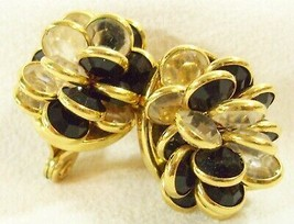 Monet Clear n Jet Black Bezel Set Crystal Cluster Clip Earrings Gold Plt... - $21.77
