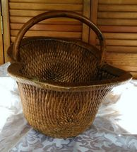 Vintage Chinese Willow Market Basket w/ Wooden Handle image 6