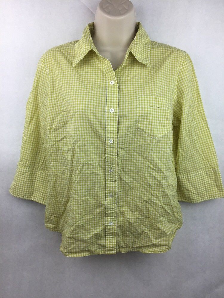 "Girl's J. Crew Green Plaid Button Up 3/4 Sleeve Shirt 20"" L 19"" W 16"" Sleeve"