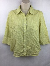 "Girl's J. Crew Green Plaid Button Up 3/4 Sleeve Shirt 20"" L 19"" W 16"" Sl... - $12.86"