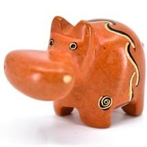 SMOLArt Hand Carved Soapstone Orange Hippopotamus Hippo Figurine Made in Kenya image 2