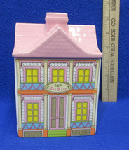 Avon Tea Townhouse Kitchen Canister Tea Room House Pink Roof Ceramic White - $14.84