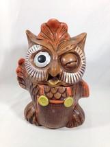 Vintage Brown Winking Waving Owl Cookie Jar Owl Cookie Jar -See pictures - - $35.77