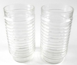 Anchor Hocking Clear Ribbed Drinking Tumbler Glass Glasses Set of 2 Vint... - $14.84