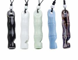 Set of 6 Whistle Necklace Multicolor Handmade Crafts Ceramic Pendant