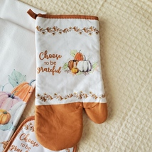 Kitchen Linens Set, 6pc, Choose to be Grateful, Pumpkins Orange Thanksgiving image 6