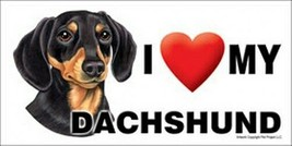 I (Heart) Love my DACHSHUND Blk/Tan Car Fridge Dog Magnet 4x8 USA Waterp... - $6.76