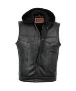Motorcycle Vest Apparel Removable Hood Bike Leather Vest by Daniel Smart... - $137.95+