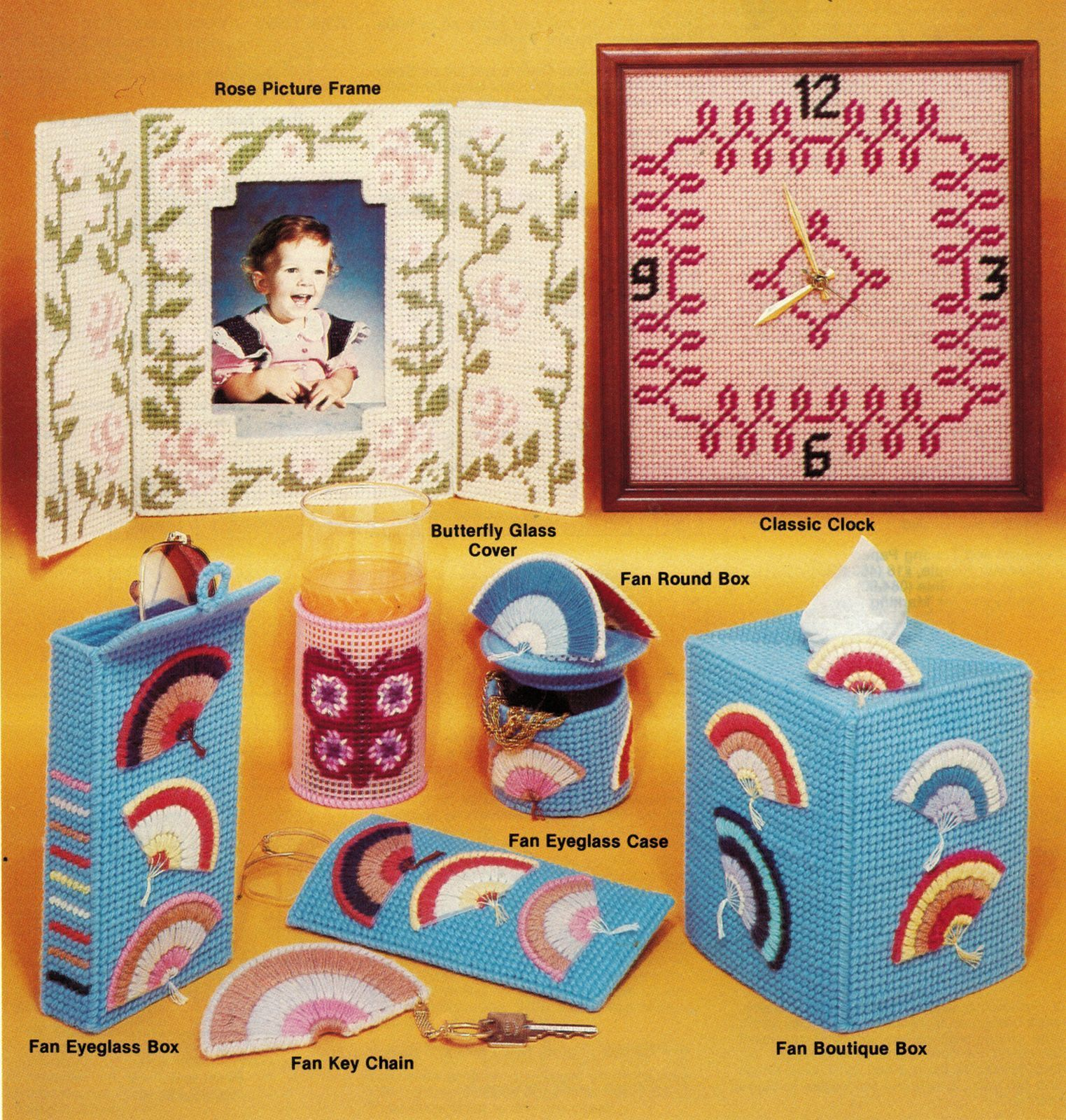 Primary image for Vtg Needlepoint Plastic Canvas Owl Coaster Clock Butterfly Nursery Mats Pattern