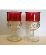 Two Tiffin King's Crown Thumbprint Cranberry Flashed Water Goblets - $19.99
