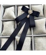 Black Ribbon Tie Women Ladies Rhinestone Crystal Bow Tie Brooch Pin - $7.28+