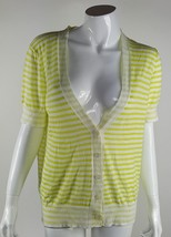 Ann Taylor Loft Women Size Large Yellow White Striped Button Up Cardigan... - $12.19