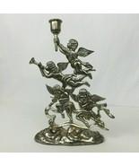 Vintage Godinger Silver Plated Christmas Musician Angels Candle Stick Ho... - $16.74